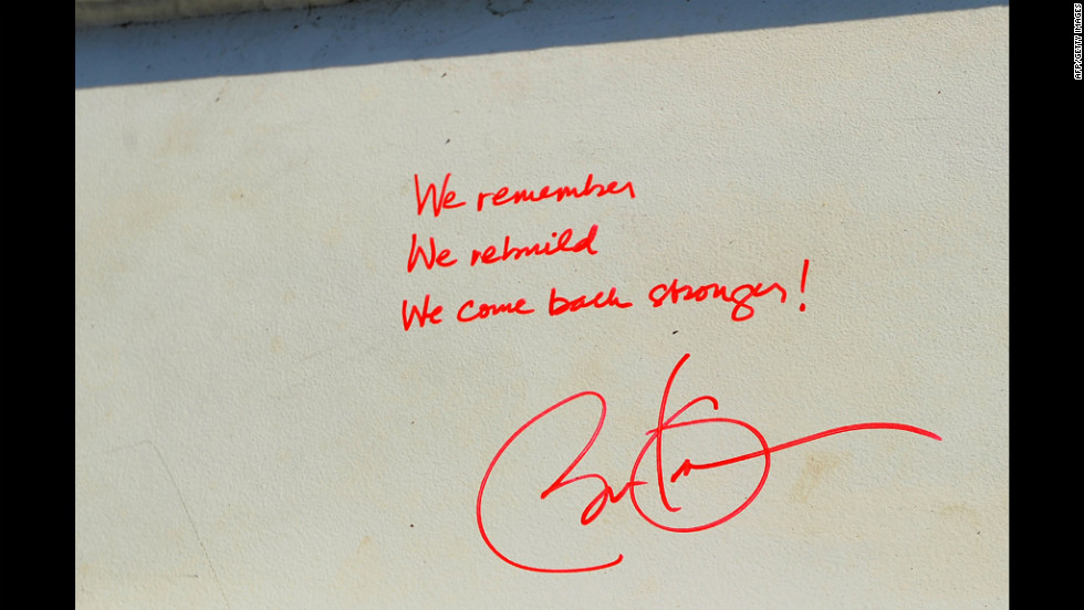 "President Barack Obama visited the construction site two months later and wrote, on a steel beam that would be hoisted to the top of the tower, the sentence ""We remember, we rebuild, we come back stronger!"""