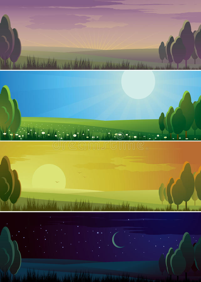 Vier banners die dagcyclus tonen